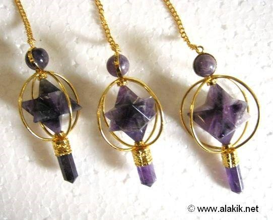 Picture of Amethyst Spinning merkaba Golden plated Pendulum