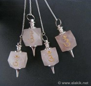 Picture of Rose Quartz Engrave Third Eye Chakra pendulum