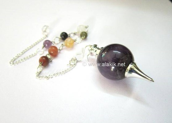 Picture of Amethyst Ball Pendulum with chakra Chain
