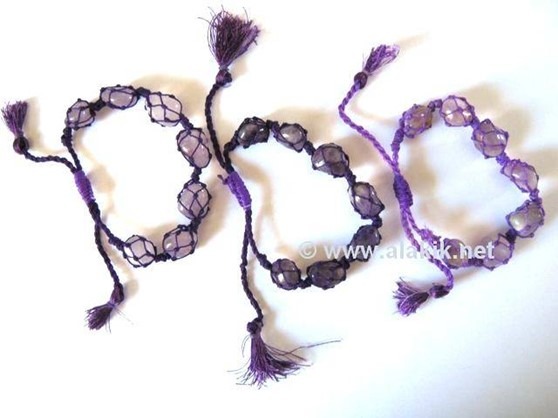 Picture of Amethyst Netted Tumble Drawstring Bracelet