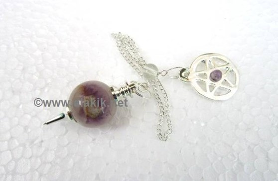 Picture of Amethyst ball pendulum with pentacle