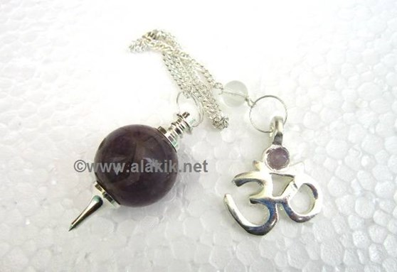 Picture of Amethyst ball pendulum with om