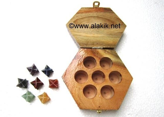 Picture of 7 Chakra merkaba Star with hexagonal wooden Box