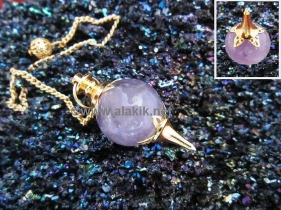 Picture of Amethyst Flower Ball Gold Pendulum