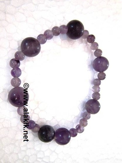 Picture of Amethyst 4x1 Beads Elastic  bracelet