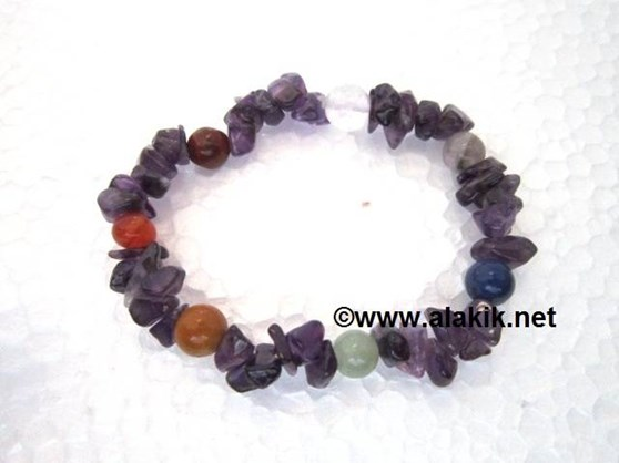 Picture of Amethyst Chips with chakra beads bracelet