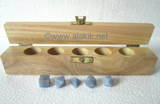 Picture of Angelite 5pcs Geometry set with Wooden Box