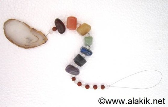 Picture of 7 chakra tumble suncatcher with agate plate