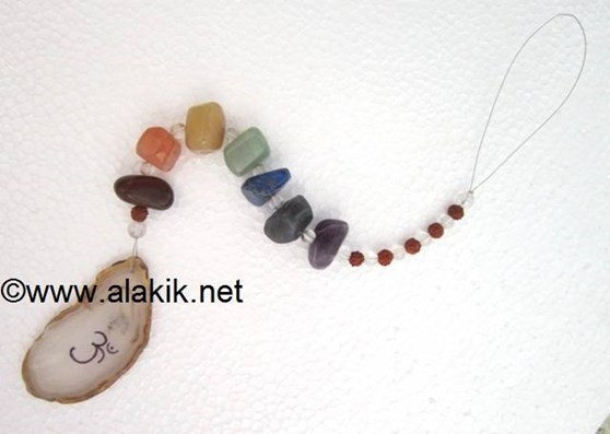 Picture of 7 Chakra suncatcher with agate place on om