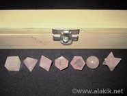 Picture of Rose Quartz 7pcs Geometry set with Wooden Box