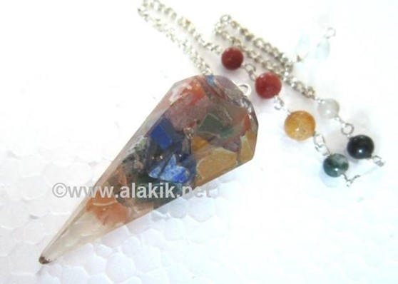 Picture of 6 Facet Chakra orgone pendulum with Chakra chain
