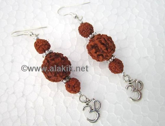 Picture of 3 Pcs Rudraksha with Om Charm Earring
