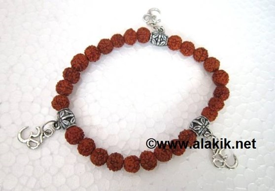 Picture of 8mm Rudraksha beads with om charms