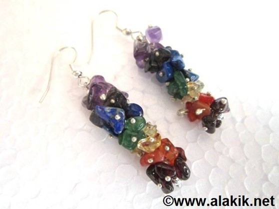 Picture of 7 Chakra Fuse Wire Earrings