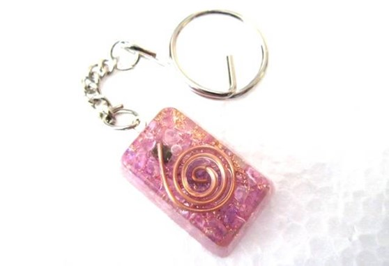 Picture of Amethyst rectangle orgone key ring