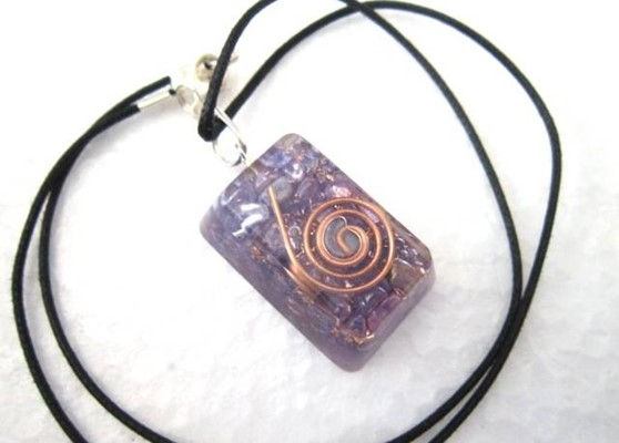 Picture of Amethyst rectangle pendant with cord