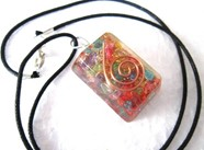 Picture of Chakra rectangle orgone pendant with cord