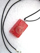 Picture of Red Rectangle Orgone Pendant with cord