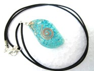 Picture of Tourquise Eye Shape Orgone Pendant with cord