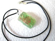 Picture of Green rectangle orgone pendant with cord