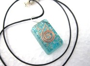 Picture of Tourquise rectangle orgone pendant with cord