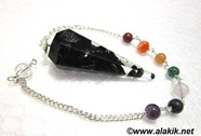 Picture of Black Tourmaline Orgone Pendulum with chakra chain