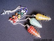 Picture of Mix Gemstone Silver Cone Cage pendulum with chakra chain