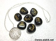 Picture of Black Sanskrit Tumble Set with Silver Cage Necklace