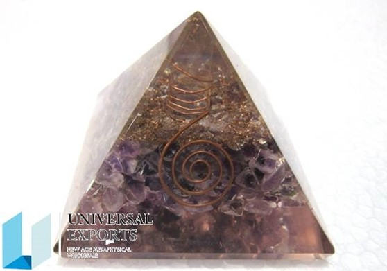 Picture of Amethyst Orgone pyramids with coil point