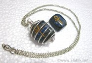 Picture of Silver Lapis ANKH Tumble spring cage neckalce