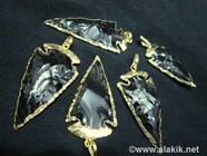 Picture of Black Obsidian Electro plated arrowhead pendant 2inch