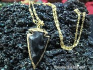Picture of Black obsidian Electro Plated Arrowhead Pendant with Chain 2inch