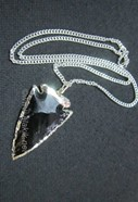 Picture of Black obsidian electro plated silver arrowhead pendant with chain