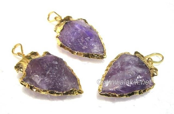 Picture of Amethyst Gold Bezel Arrowhead pendant