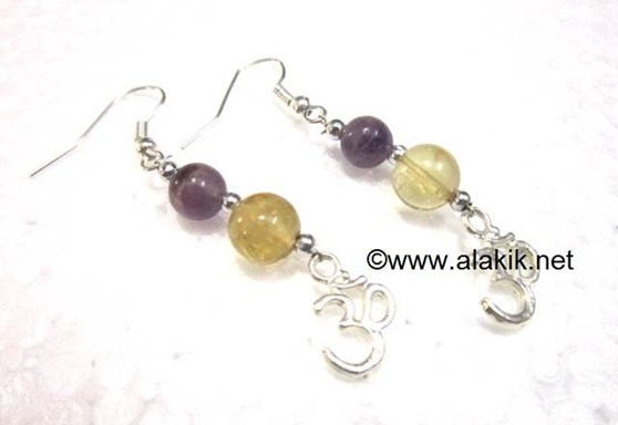 Picture of Amethyst Citrine Om Charm Earring