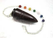 Picture of Rose Wood Bullet pendulum with chakra chain