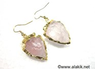 Picture of Rose Quartz Eletroplated Arrowhead Earrings