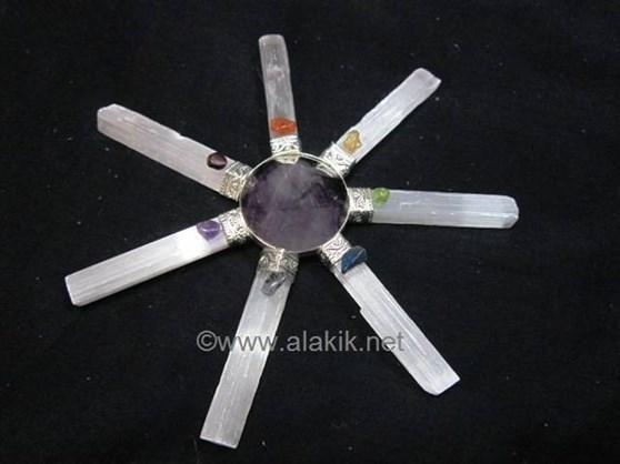 Picture of Amethyst 7pcs Selenite Chakra Generator