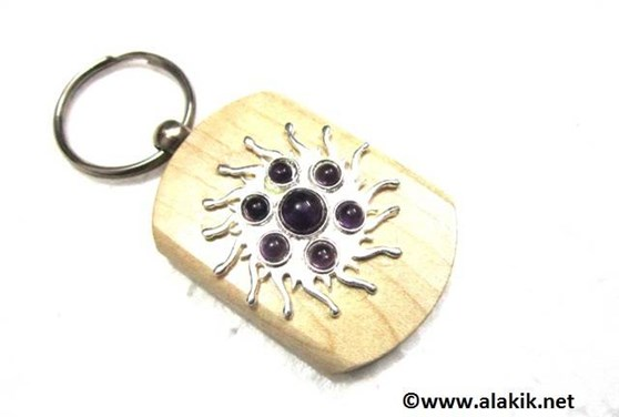 Picture of Amethyst Sun Wooden Keyring