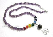 Picture of Amethyst beads Chakra Penctacle Star Necklace