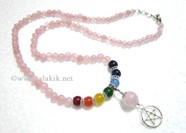 Picture of Rose Quartz  Beads Chakra Penctacle Star Necklace