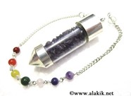Picture of Amethyst Chips Chamber Pendulum with Chakra chain