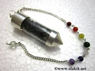 Picture of Black Tourmaline Chips chamber pendulum with chakra chain