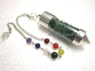 Picture of Green Jade Chips Chamber Pendulum with chakra chain