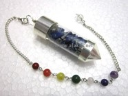 Picture of Lapis Lazule Chips Chamber Pendulum with chakra chain