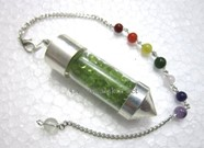 Picture of Peridot Chips Chamber Pendulum with chakra chain