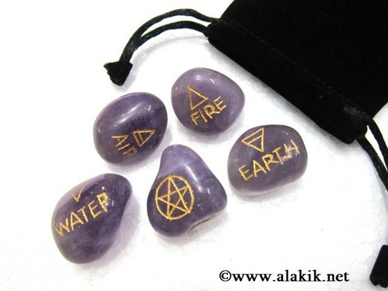 Picture of 5 Element Amethyst Tumble Set with pouch