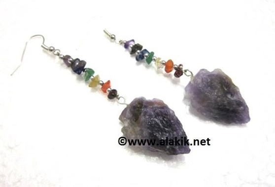 Picture of Amethyst Arrowhead Earring with Chakra Chips
