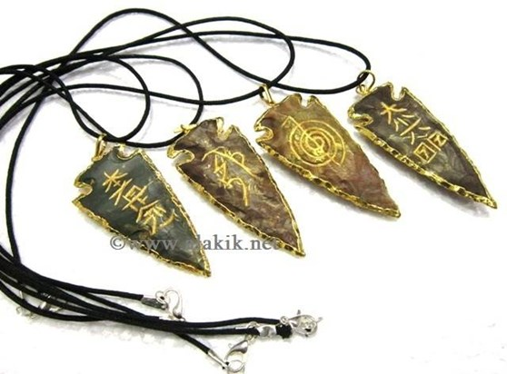 Picture of Agate Electroplated USAI Arrowhead Pendant Set
