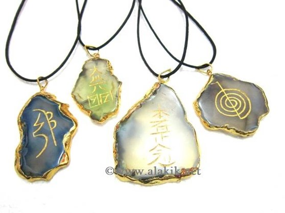 Picture of Agate Slice Electroplated USAI Pendant Set